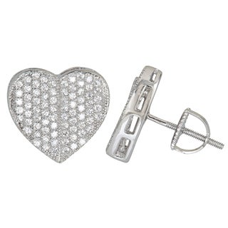 Sterling Silver Flat Heart Micropave Screwback Stud Earrings with Cubic Zirconia