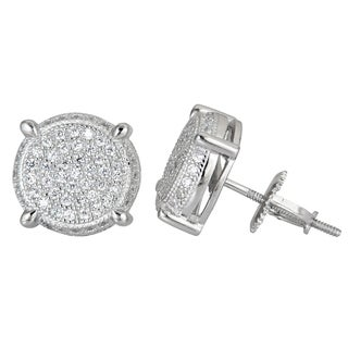 Decadence Sterling Silver Round Micropave Screwback Stud Earrings with Cubic Zirconia