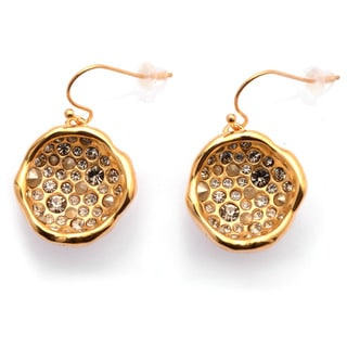 De Buman 18k Yellow Gold Plated, 18k Rose Gold Plated or Black Rhodium Plated Black Czech and Crystal Earrings