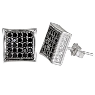 Decadence Sterling Silver Black and White Cubic Zirconia Micropave Stud Earrings