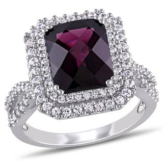 Miadora Signature Collection 14k White Gold Rhodolite Sapphire and 1/3ct TDW Diamond Ring (G-H, SI1-SI2)