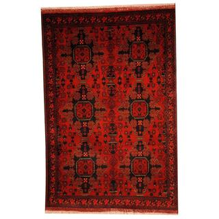Herat Oriental Semi-antique Afghan Hand-knotted Tribal Balouchi Rust/ Navy Wool Rug (3'3 x 4'10)