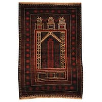 Herat Oriental Afghan Hand-knotted 1960s Semi-antique Tribal Balouchi Wool Rug (2'10 x 4'3) - 2'10 x 4'3
