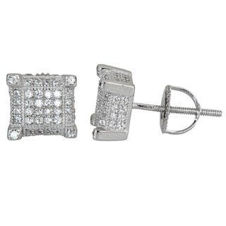 Decadence Sterling Silver Prong-set Cubic Zirconia Square Stud Earrings