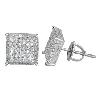 Decadence Sterling Silver Cubic Zirconia Polished Stud Earrings