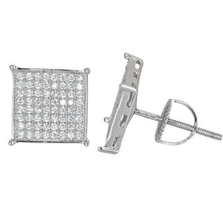 Decadence Sterling Silver Square Micropave Cubic Zirconia Screwback Stud Earrings