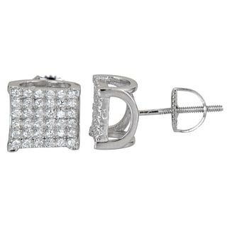 Decadence Sterling Silver Square Micropave Cubic Zirconia Scalloped Screwback Stud Earrings