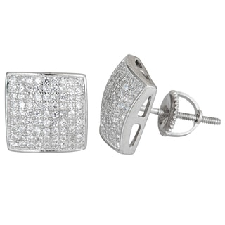 Decadence Sterling Silver Square Cubic Zirconia Micropave Screwback Convex Stud Earrings