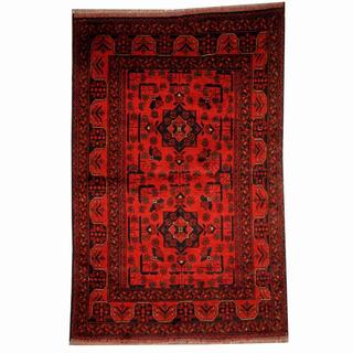 Herat Oriental Semi-antique Afghan Hand-knotted Tribal Balouchi Rust/ Navy Wool Rug (3'3 x 4'11)