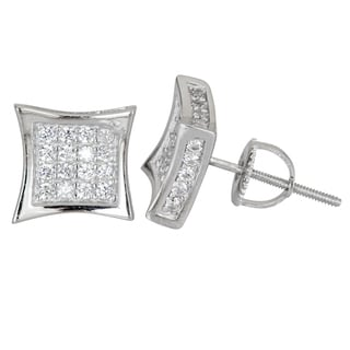 Decadence Sterling Silver Micropave Cubic Zirconia Flared Square Screwback Stud Earrings