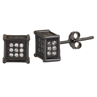 Decadence Black Sterling Silver White Cubic Zirconia Square Micropave Stud Earrings