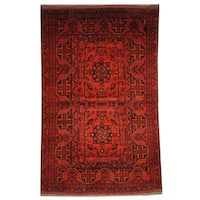 Herat Oriental Semi-antique Afghan Hand-knotted Tribal Balouchi Rust/ Navy Wool Rug (3'1 x 4'11)