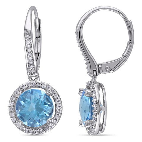Miadora 14k White Gold Blue Topaz and 1/3ct TDW Diamond Halo Leverback Earrings (G-H, SI1-SI2)