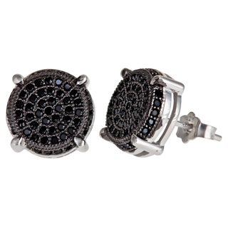 Decadence Sterling Silver Black Micropave Cubic Zirconia Round Stud Earrings