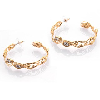 De Buman 18k Yellow Gold Plated Crystal and White Czech Earrings