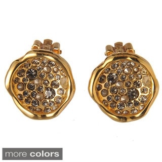 De Buman 18k Gold Plated Crystal Stud Earrings