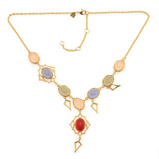 De Buman 18k Yellow Gold Plated or 18k Rose Gold Plated Multi-colored Crystal Necklace