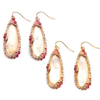 De Buman 18k Yellow Gold Plated or 18k Rose Gold Plated Mother of Pearl Earrings