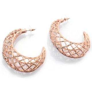 De Buman 18k Rose Gold Plated or 18k Yellow Gold Plated White Czech Earrings