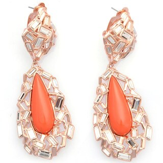 De Buman 18k Rose Gold Plated or 18k Yellow Gold Plated Red Coral and Crystal Earrings