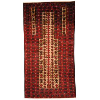 Herat Oriental Semi-antique Afghan Hand-knotted Tribal Balouchi Ivory/ Red Wool Rug (2'10 x 5'3)