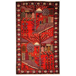Herat Oriental Semi-antique Afghan Hand-knotted Tribal Balouchi Red/ Blue Wool Rug (2'10 x 4'11)