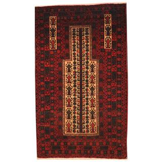 Herat Oriental Afghan Hand-knotted 1960s Semi-antique Tribal Balouchi Wool Rug (3' x 4'10)