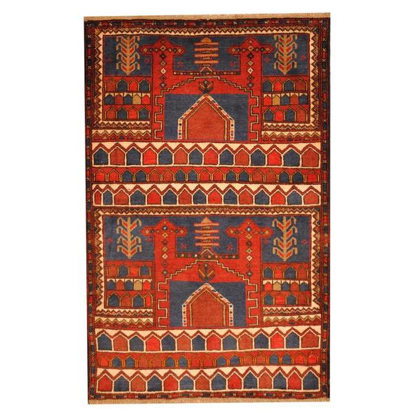 Herat Oriental Semi-antique Afghan Hand-knotted Tribal Balouchi Blue/ Rust Wool Rug (2'11 x 4'6)
