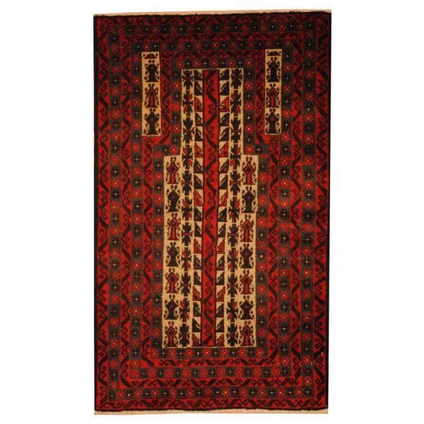 Handmade Herat Oriental Afghan 1950s Semi-antique Tribal Balouchi Wool Rug - 2'9 x 4'6 (Afghanistan)