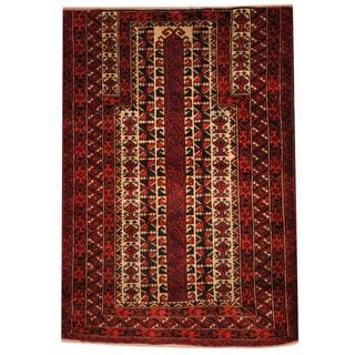Herat Oriental Semi-antique Afghan Hand-knotted Tribal Balouchi Ivory/ Rust Wool Rug ( 3'2 x 4'6)