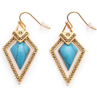 De Buman 18k Yellow Gold Plated or White Rhodium Plated Turquoise Earrings
