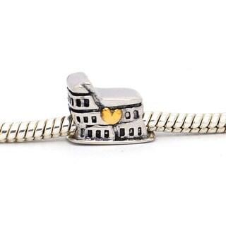 De Buman Sterling Silver Castle Fashion Charm Bead
