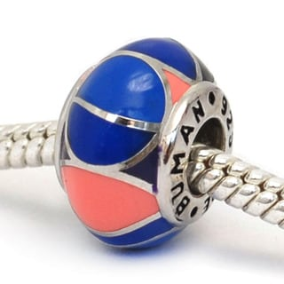 De Buman Sterling Silver and Enamel Multi-color Ball Charm Bead