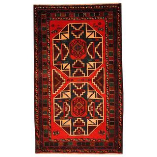 Herat Oriental Semi-antique Afghan Hand-knotted Tribal Balouchi Red/ Navy Wool Rug (3' x 5')