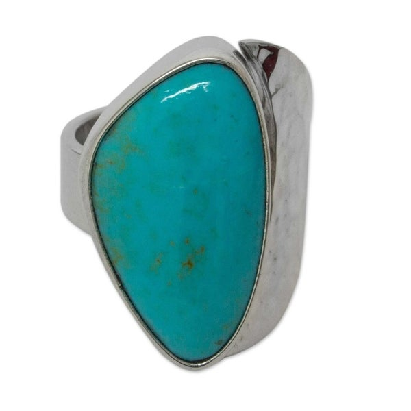 Handmade Silver 'Taxco Moon' Turquoise Ring (Mexico). Opens flyout.