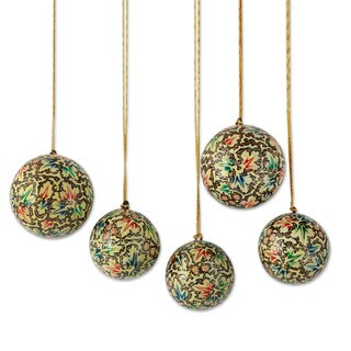 Set of 5 Papier Mache 'Holiday Greetings' Ornaments (India)