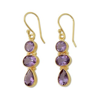 Handmade Gold Overlay 'Lilac Triad' Amethyst Earrings (India)