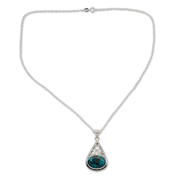 e5b57ad5ff5bd3 Handmade Sterling Silver 'Divine Sky' Turquoise Necklace (India