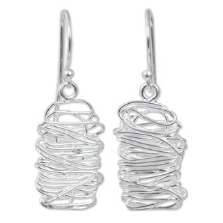 Handmade Sterling Silver 'Scribble' Earrings (Thailand)