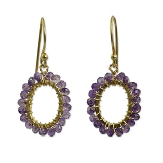 Handcrafted Gold Overlay 'Treasure' Amethyst Earrings (Thailand)
