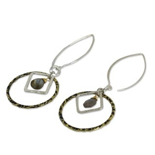 Handmade Gold Overlay 'Cordial Embrace' Labradorite Earrings (Thailand)