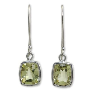 Handmade Sterling Silver 'Autumn Sunshine' Lemon Quartz Earrings (Thailand)