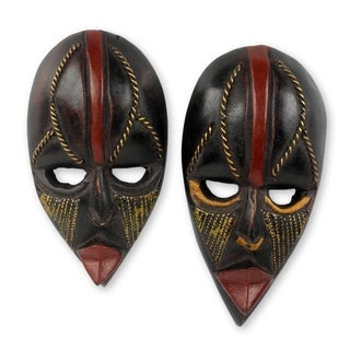Set of Two Handcrafted Sese Wood 'Ntaafo' African Mini Masks (Ghana)