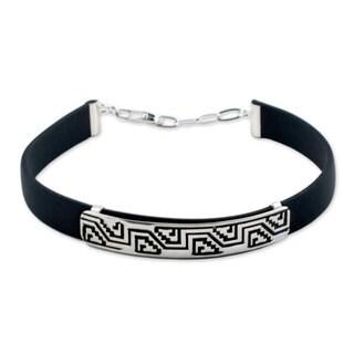 Handmade Men's Sterling Silver 'Taxco Frieze' Bracelet (Mexico)