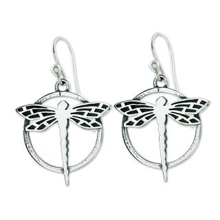 Handcrafted Sterling Silver 'Tropical Dragonfly' Earrings (Mexico)