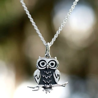 Sterling Silver 'Thoughtful Owl' Necklace (Mexico)