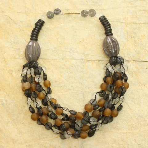 Handmade Recycled Glass Ceramic 'Deka' Torsade Necklace (Ghana)