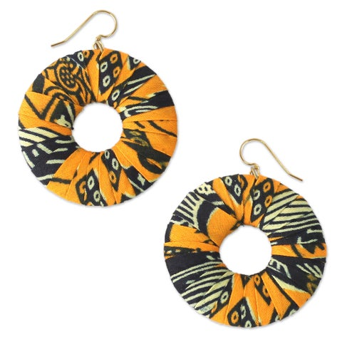 Handmade Cotton 'Ewurama' Dangle Earrings (Ghana)