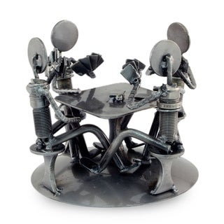 Handcrafted Auto Part 'Rustic Poker Game' Sculpture (Mexico)
