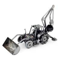 Handmade Auto Part 'Rustic Bulldozer Digger' Sculpture (Mexico)